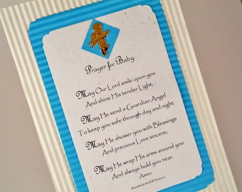 BABY CHRISTENING GIFT Personalized Prayer New Baby Boy Wall Print Prayer Keepsake Gift Blue Decor Baptism Baby Shower Angel Charm RosaLinda