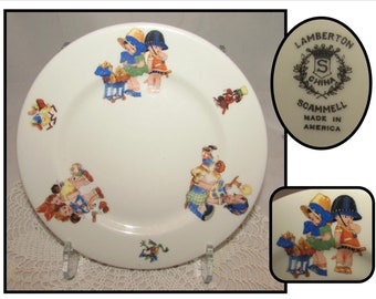 "Vintage Lamberton Scammell 8"" China Childs Plate w/ Cute Cartoon Kids & Animals"