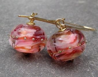 Lampwork Glass Bead Dangle Earrings, 14k Gold Fill Earrings, Drop Earrings, Artisan Lampwork Beads