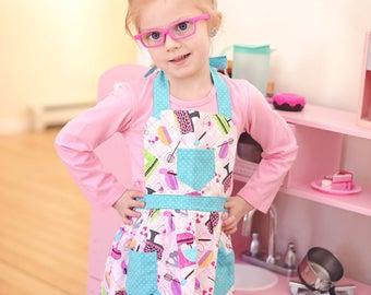 Kitchen Utensils Apron, Children Apron, Toddler Apron, Girl Apron, Baking Apron, Cooking Apron, Kid Apron, Little Girls Apron, Retro Apron