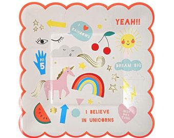 Rainbow & Unicorn Small Plates (Set of 8), Meri Meri Unicorn Paper Plates, Unicorn Party, Unicorn Birthday