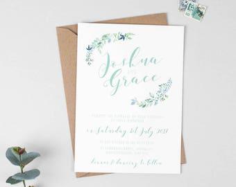 Botanical Wedding Invitation -  Floral Wedding Invite - Green Wedding Stationery - Invitation Suite - Garden Wedding - Summer Wedding