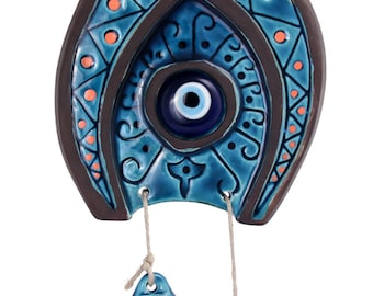 Evil Eye Ceramic Horseshoe Wall Art - Ceramic Wall Art with Glass Evil Eye Bead - Ceramic Wall Hanging