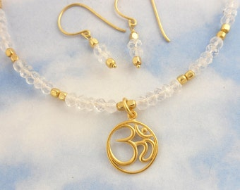 Om Necklace & earring set - crystal quartz gemstones, 24k gold plated sterling silver aum charm and faceted nuggets -Zen-  free shipping USA