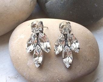 Vintage Style Clear Crystal Earrings, Bridal Studs crystal Earrings, Sparkly earrings, Wedding post earrings, bridal Sparkly earrings