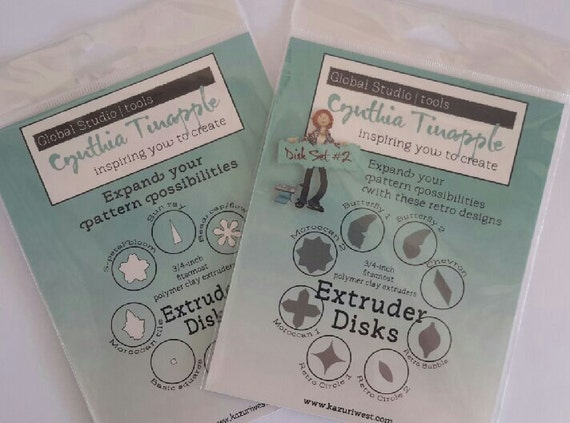 Complete set of Cynthia Tinapples' steel designer Extruder Discs.  extruder disc set volume 1 & 2 total of 16 designs