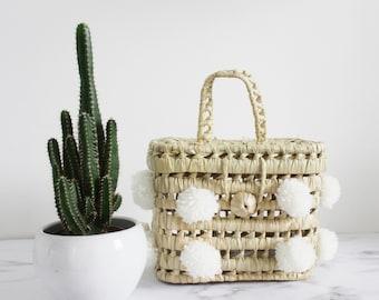 moroccan small white pompom basket bag