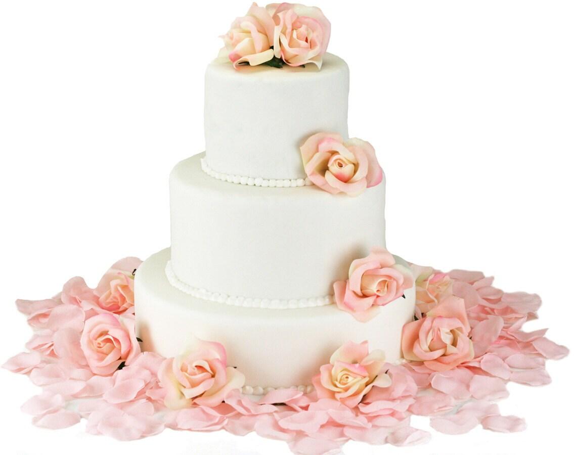 Pink Silk Rose Cake Flowers Wedding Reception Decoration