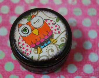 Funky Owl Pill Box / Wood Box / Pill Boxes / Small Pill Box / Wooden Box / Jewelry Box / Ring Box / Container / Storage / Owls / Kids