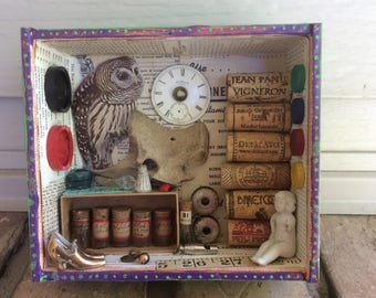 WISE OWL.... Mixed Media 3D Art Shadow Box DIORAMA Recycled Stuff Repurposed Cigar Box Junk Things Assemblage