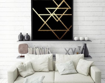 Abstract Print Poster, Gold Triangles Print, Geometric Print Poster, Minimalist Poster, Triangles Print, Triangles Wall Art, Real Gold Foil.