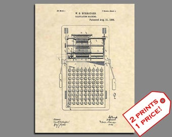 Patent Prints - 1888 Calculator Patent Print - Science Poster Patent Art Accountant Gift - Vintage Scientist Poster CPA Gift - 236