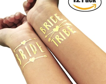 12 Pack of Gold DIY Temporary Bride Tribe With Arrows and Hearts Fake Tattoo Bridal Shower Adult Tattoo Hen Party Bachelorette