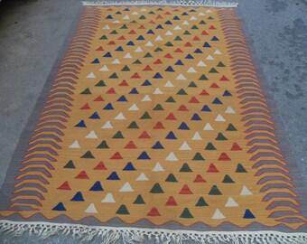 "Vintage Turkish kilim rug, 54"" x 84"" yellow kilim rug, colorful area rug, vintage rug, bohemian rug, rugs, colorful striped rugs,area rug"