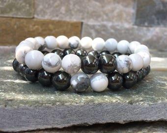 Partner bracelets bracelet set him and her gemstone Hematite 8mm long distance relationship