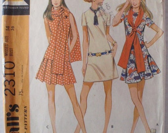 Dropped Waist Dress With Three Skirts and Scarf Sewing Pattern - McCall's 2310 - Size 14, Bust 36