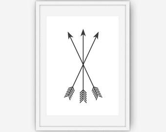 Black Arrow Print, Arrow Wall Art, Black and White Wall Art, Arrow Wall Prints, Black Arrows, Wall Art, Printable, Instant Download