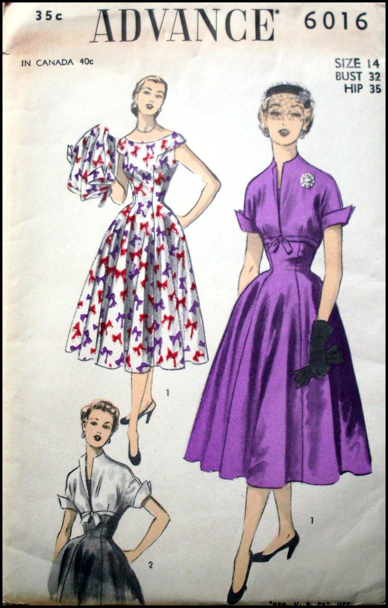 Vintage 1950s-Adapation of DIOR New Look -Fitted Dress-Full Swish ...