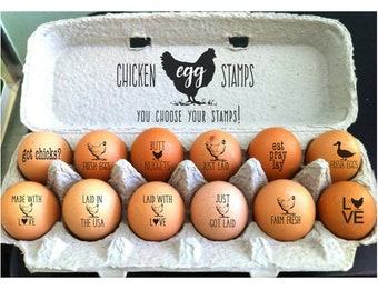 Custom Egg Stamps | Chicken Egg Stamps | Fresh Eggs Stamp | Farm Fresh Egg Stamper | Mini Chicken Stamps | Crazy Chicken Lady Gift Homestead