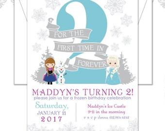 Frozen Birthday Invite, Winter Invitation, Elsa and Anna Invite, Olaf Birthday, Frozen theme Invite, Elsa Birthday Invite, Any age Invi