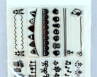 Nola Blake Clear Cling Rubber Stamp Set Borders and Trims