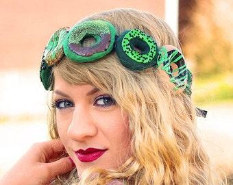 Green Irish DONUT CROWN   St. Patrick's Day Dessert Headband   St. Patty's Plush Funny Wreath