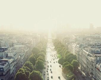 "Paris Art, Fine Art Print, Paris Photography, Summer Paris Sunset, Wall Art Prints, Warm Yellow, Cityscape ""Staring into the Sun"""