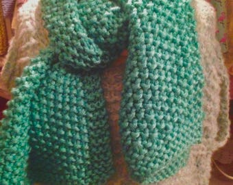 XXL /lesgrainesdamour/ turquoise green/unisex oversized scarf / very hot/warm handmade scarf