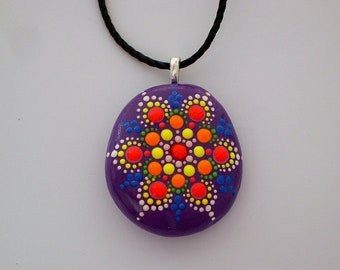 Mandala pendant necklace Mothers Day gift under 50 statement jewelry ultra violet beach fashion SHIP FREE painted rock glossy dots neon glow