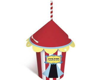 CIRCUS Tent Cup 240ml - 8 Pack / Circus Theme Party Supplies-Circus Birthday Party-Carnival Theme Decorations-Baby Shower-1st Birthday Party