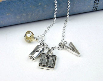 Personalized Dieting Necklace with Your Initial and Birthstone