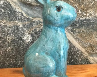 Hand Painted Ceramic Blue Bunny