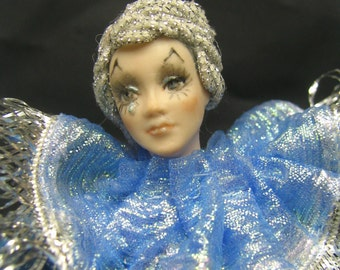 Porcelain Miniature Pierrot doll in Blue and Silver by Kay Brooke