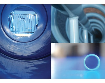Blue Cylinders - Chicago Photography Collage Poster