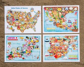 Map Illustration Postcard-Set of 3