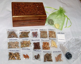 RARE HERBS sampler KIT, Wiccan, Witch, Hoodoo. Rare herbs, crystals in a hardwood hand painted pentacle box. Box is 4x6 inches.