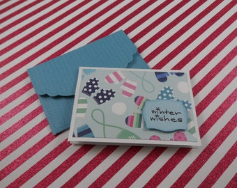 Winter Wishes Note Cards -- Mini Note Cards -- Lunch Box Notes -- Card and Envelope Set -- Gift Card Holder