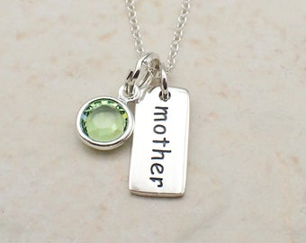Mother Necklace Sterling Silver Swarovski Crystal Charm Pendant Cable Chain Message Word