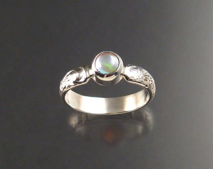 Moonstone and lab Opal Doublet ring Sterling Silver made to order in your size