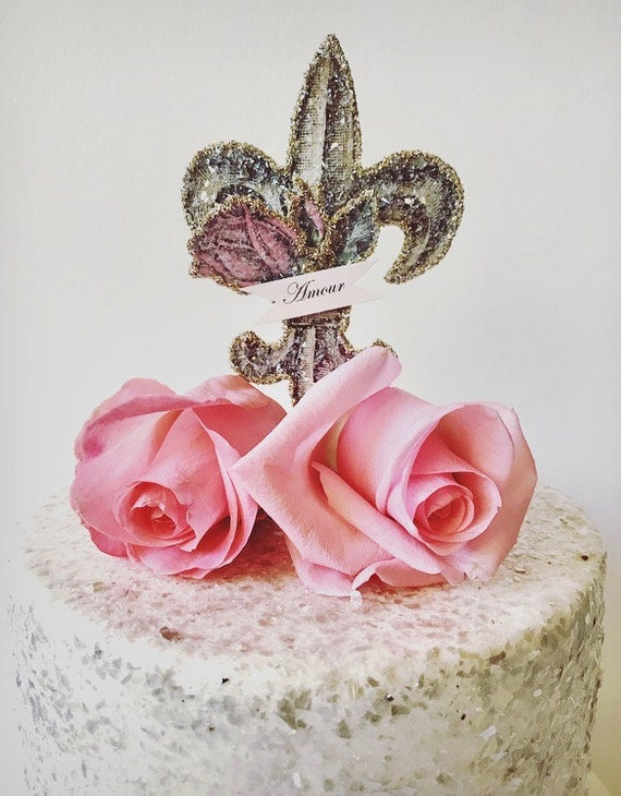French Wedding Cake Topper.  Love Cake Topper.  Fleur-de-Lis Cake Topper. Paris Cake Topper. Marie Antoinette Decor