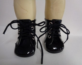 Black-Patent Leather- Military Boots Boots for  18 Inch dolls-Shown on my american girl doll