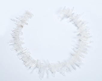 15.9inch high quality manual clear natual crystal quartz point of original rough crystal beads chain Top Drilled crystal pendant