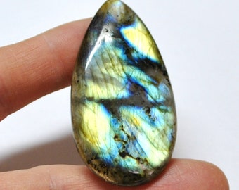 Multicolor Labradorite Tear Drop Cabochon Natural Gemstone Flat Back High Quality Jewelry Supply - 56.0 x 30.0 mm - 87.7 ct - 180502-02