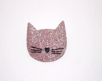 Large cat brooch pink glitter