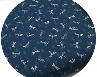 Japanese Dragonfly fabric - Sevenberry - pattern traditional dragonflies peacock blue - by 50cm (110 x)