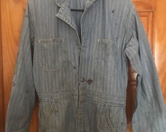 Vintage Coveralls Herringbone Workwear Shop Mechanic Gray Bib, Size 38 Long