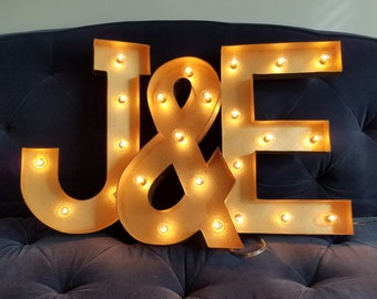 Gold Light Up Letter Lights Marquee Bulb Paper Mache Electric Sign - 8  12  16  sizes available & Light up letters | Etsy