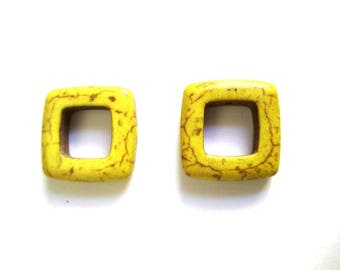 2 square yellow 19mm howlite beads