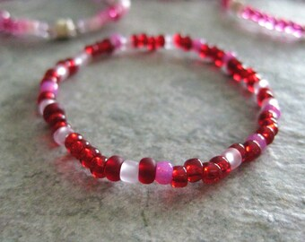 Girls Bracelet,  Valentine seed bead stretch bracelet, Large Bracelet, GBL 170