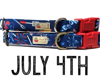 "July 4th & American Patriotic USA Red White Blue Fireworks BBQ Playful Summer Fun Dog Collar - Antique Metal Hardware - ""July 4th"""